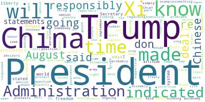 マーティン報告書ワードクラウド:トランプ政権の対応